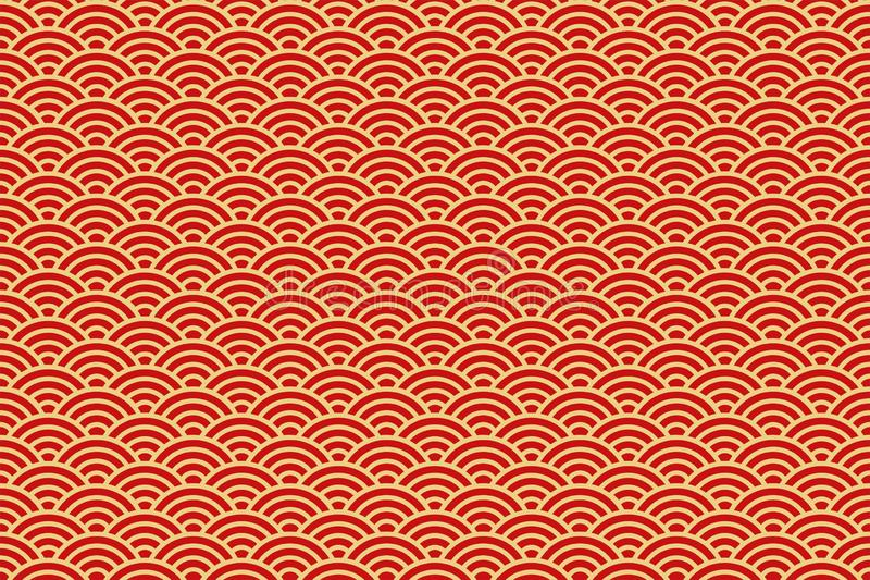 Chinese traditional oriental ornament background, red golden clouds vector pattern seamless stock illustration