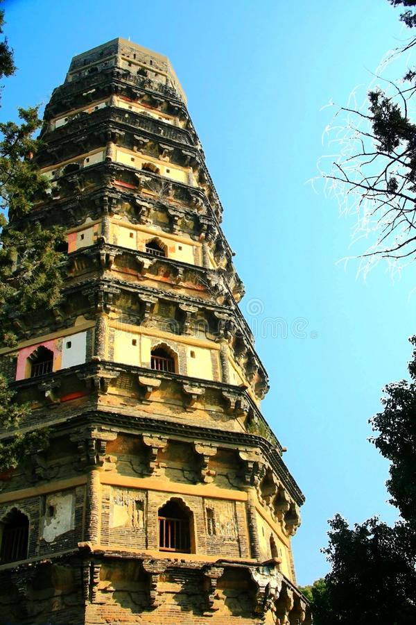 Chinese traditional pagoda architecture. Is a combination of Chinese and Indian architectural art, from the earliest square developed into hexagonal, octagonal stock photography
