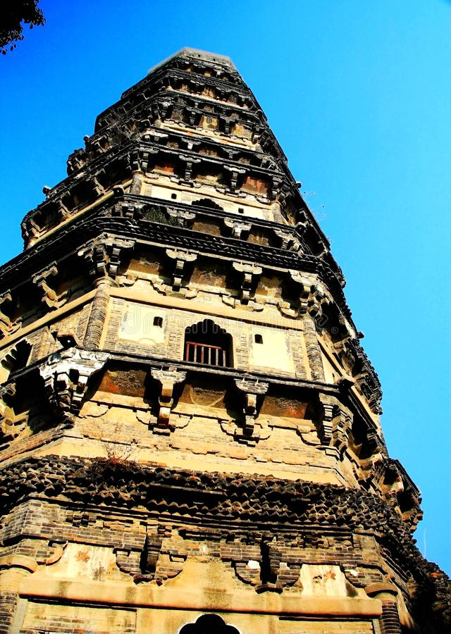 Chinese traditional pagoda architecture. Is a combination of Chinese and Indian architectural art, from the earliest square developed into hexagonal, octagonal stock photo