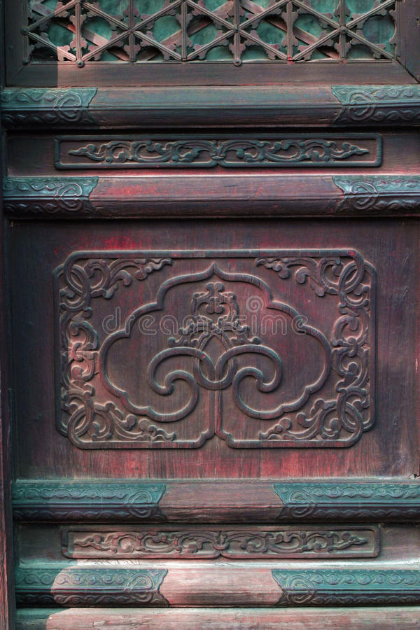 Chinese traditional patterns. On the old door of an temple in beijing,china royalty free stock photography