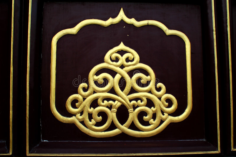 Chinese traditional patterns. Of a door.Wudang mountain,Hubei province,China stock photo
