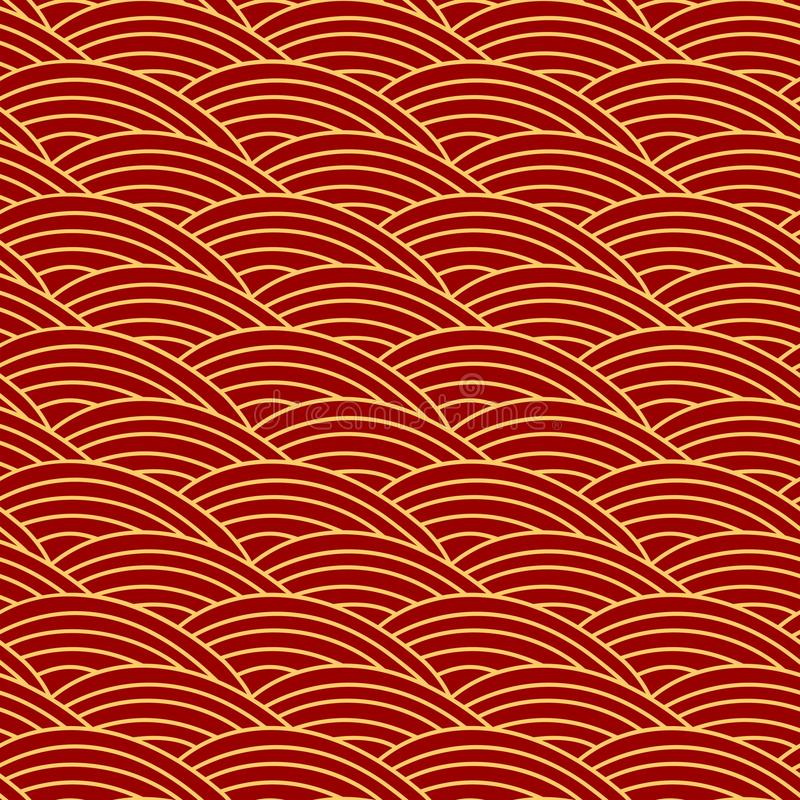 Chinese traditional seamless pattern .Oriental ornament background, red golden sea wave. stock illustration