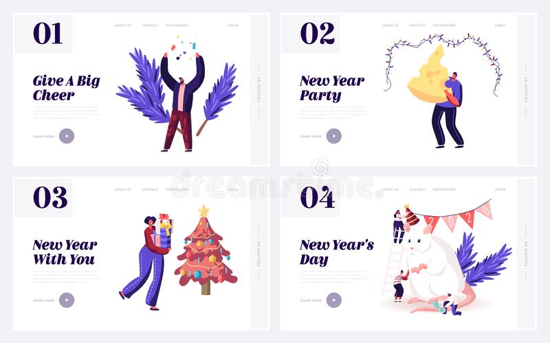2020 Chinese Traditional Symbol of Calendar Website Landing Page Set. Happy People Meeting New Year of Mouse with Gifts vector illustration