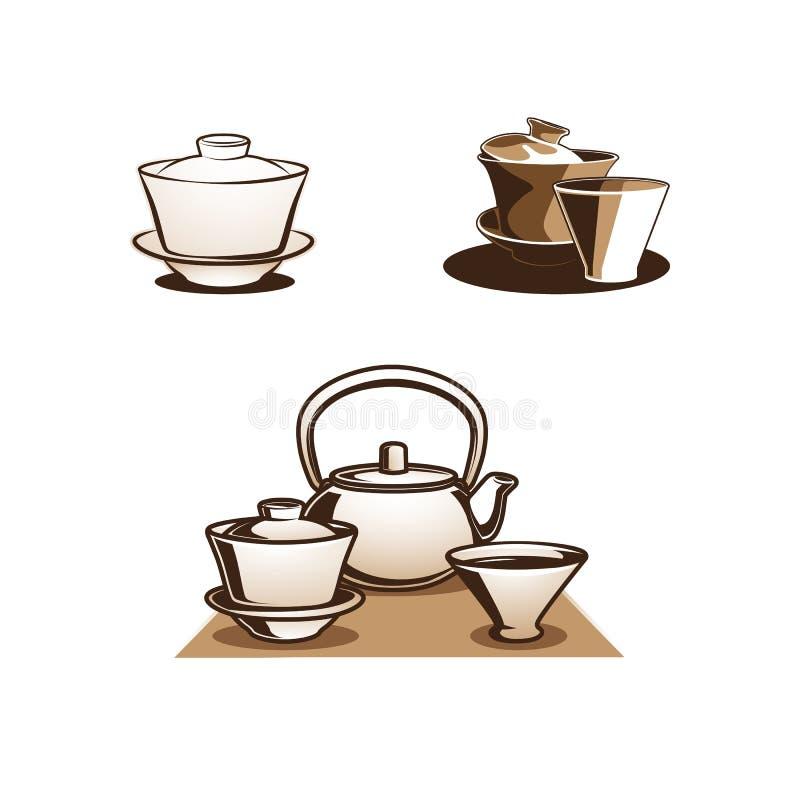 Gaiwan tea bowl logo vector image. Chinese traditional tea bowl for brewing green and white teas. Gaiwan, Tureen, Zhong illustration vector stock illustration