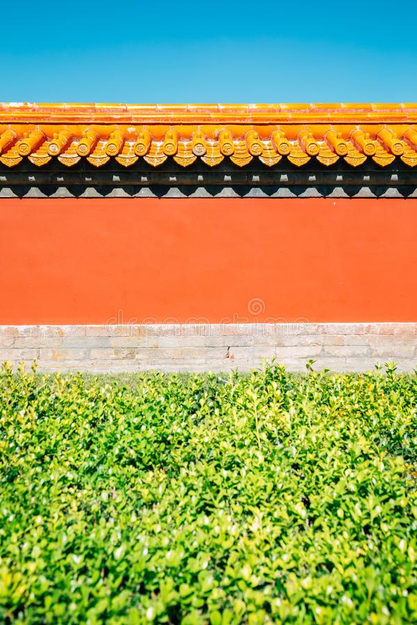 Chinese traditional wall at Temple of Earth, Ditan Park in Beijing, China. Chinese traditional wall background at Temple of Earth, Ditan Park in Beijing, China royalty free stock photography