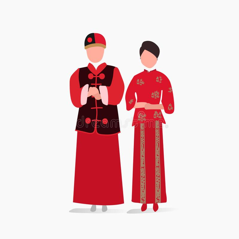 Chinese traditional wedding dress vector stock illustration