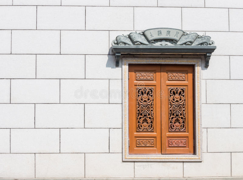 Chinese Traditional wood carvings window. stock photos