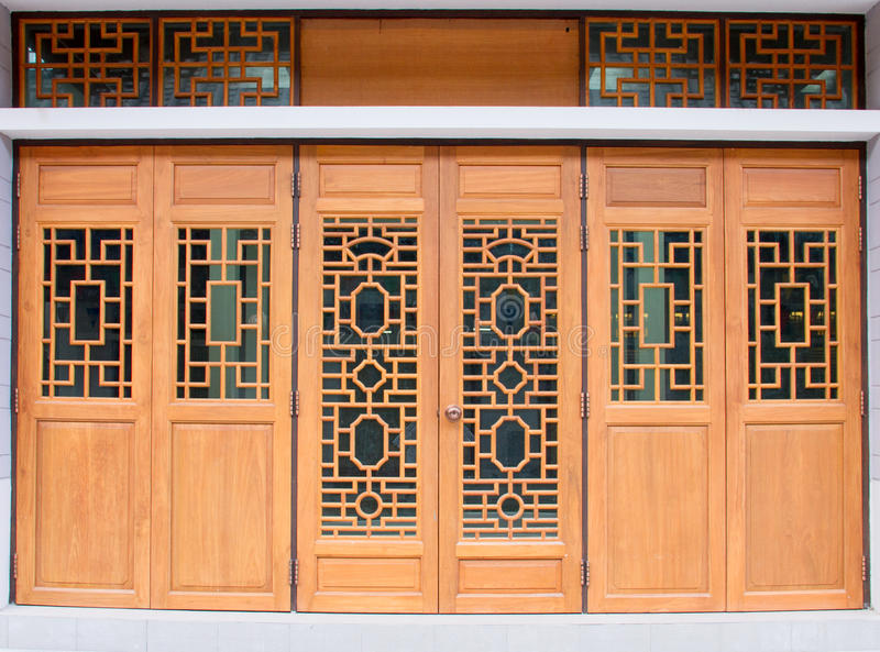 Chinese Traditional Wood Door Stock Photo Image Of