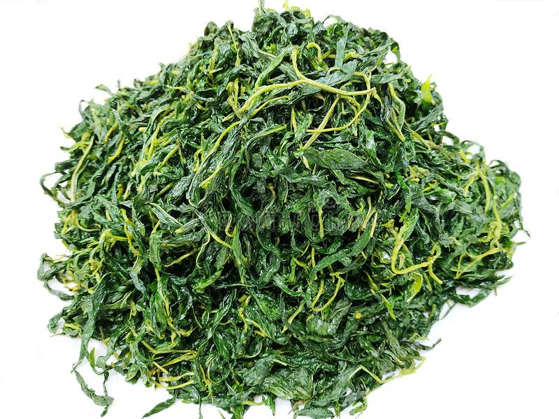 Chinese traditioneel, Bai Po Beweeg Fried Jute Leaves Mulukhiyah Leaves royalty-vrije stock foto