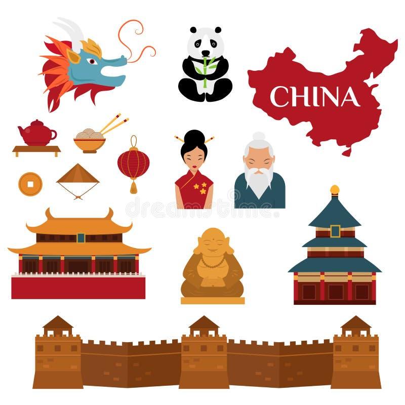 Chinese traditionele cultuurlantaarns en objecten vectorillustratie royalty-vrije illustratie