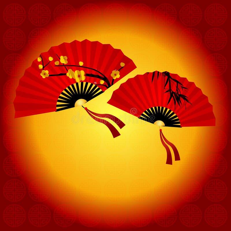 Chinese traditionele rode ventilator stock illustratie
