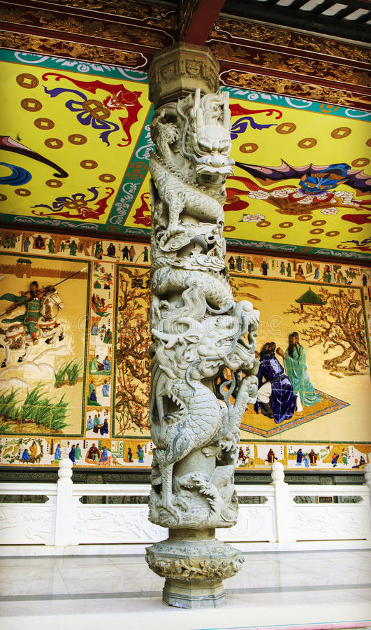 Chinese traditionele steenpijler met het klassieke ontwerp van het draakbeeldhouwwerk en patroon in oosterse stijl in China royalty-vrije stock afbeelding