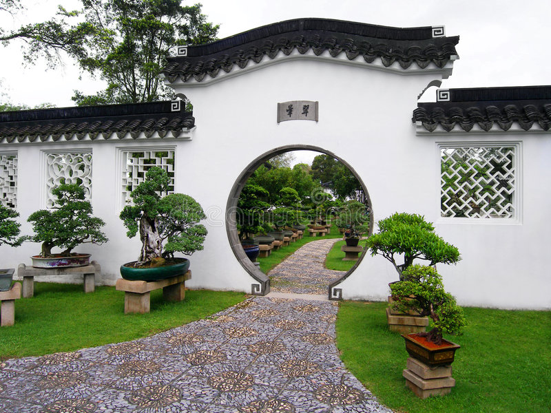 Chinese tuin & bonsai royalty-vrije stock afbeeldingen