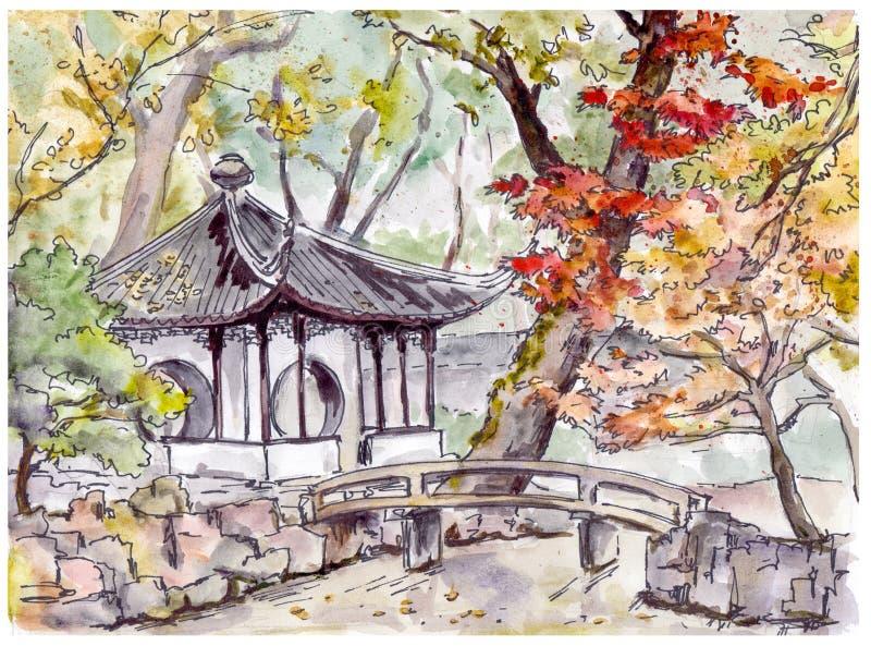 Chinese tuin met brug en pagodepaviljoen in Suzhou, China stock illustratie