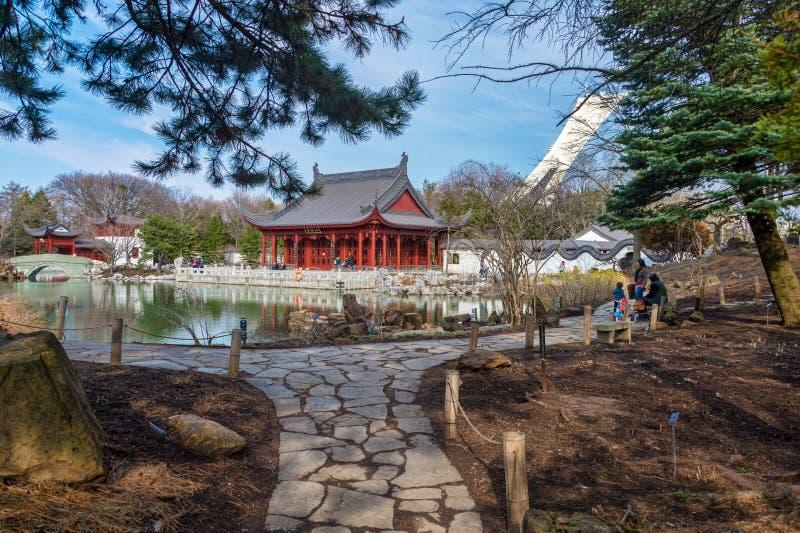 Chinese Tuin van de Botanische Tuin van Montreal royalty-vrije stock foto's