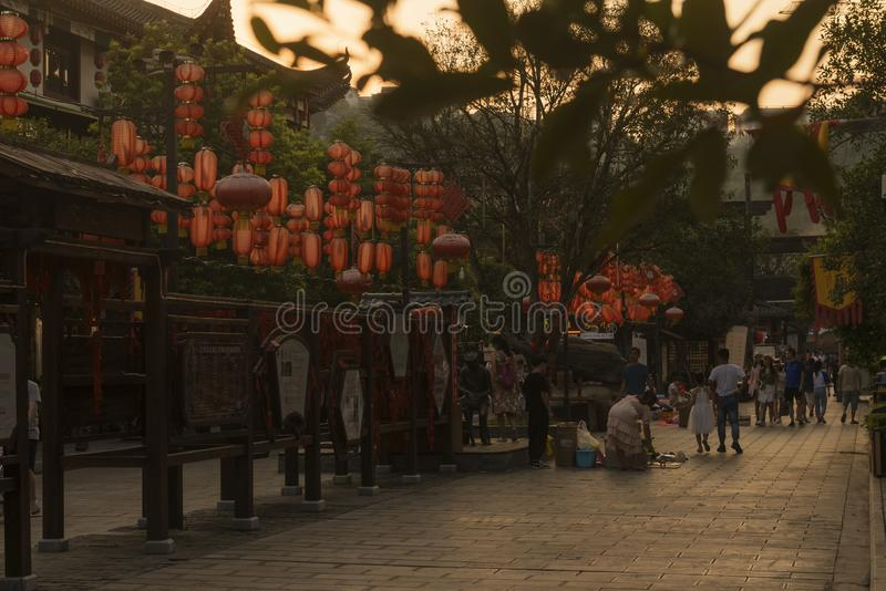 Chinese tujia street scenery at sunset royalty free stock images