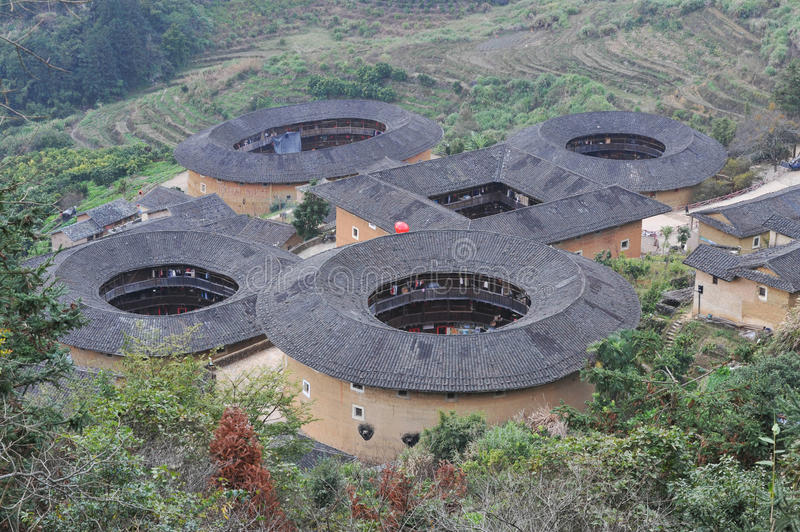 Chinese tulou building at Fujian stock photography
