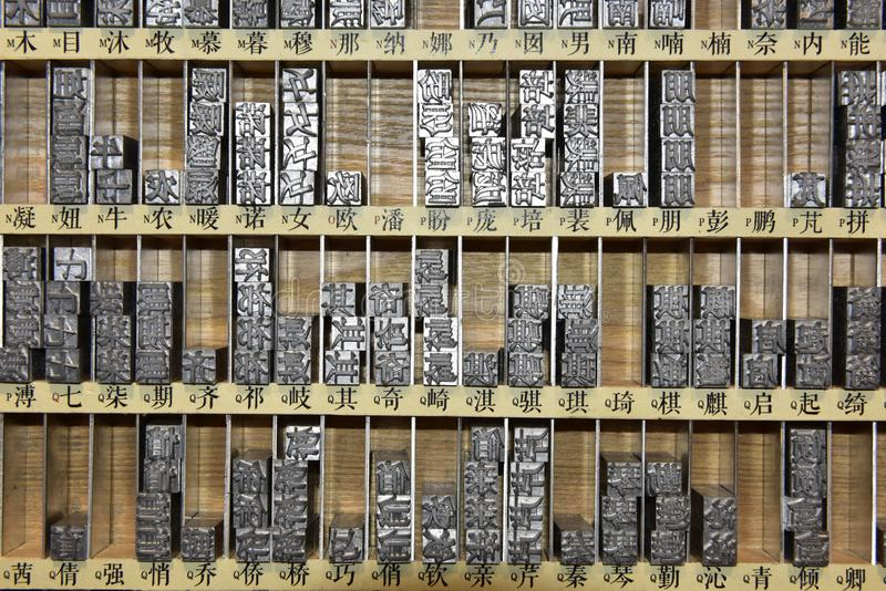 Chinese Metal Typesetting Letters in a Box stock photography