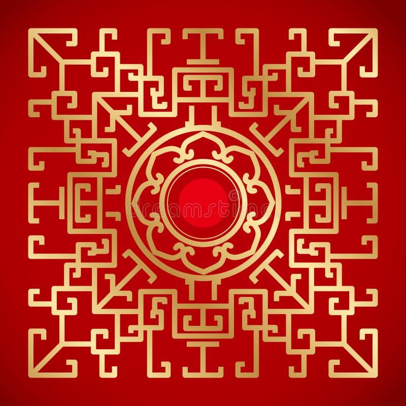 Chinese Uitstekende Draak en lotusbloemelementen op klassieke rode backgro stock illustratie
