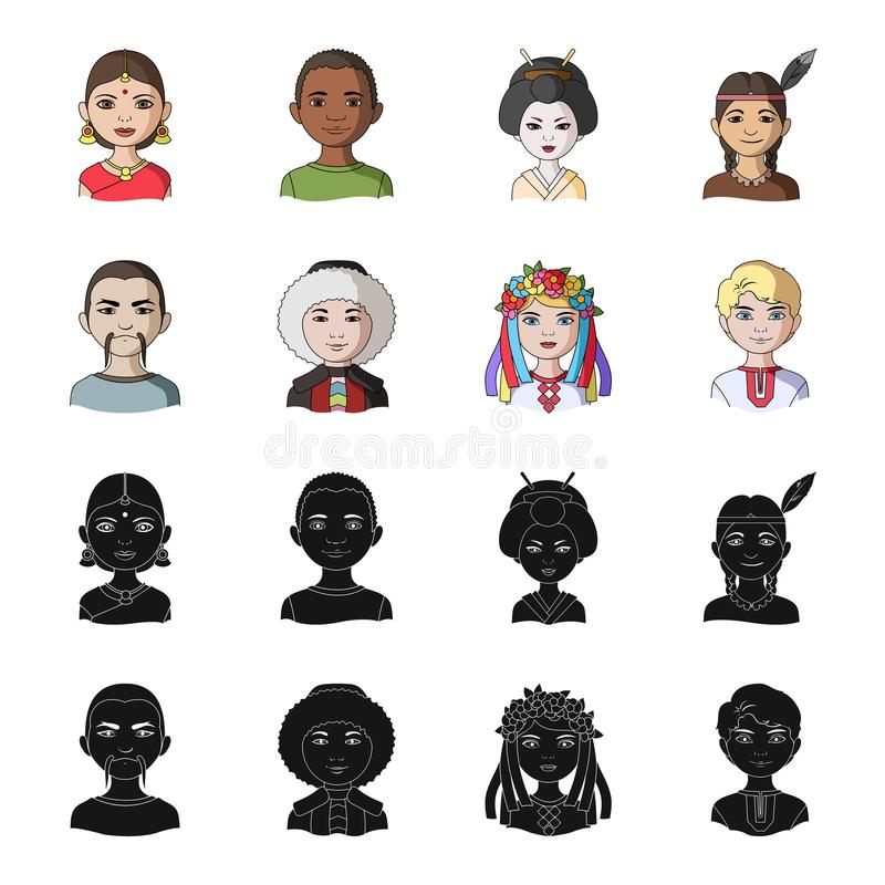 Chinese, ukrainian, russian, eskimo. Human race set collection icons in black,cartoon style vector symbol stock. Illustration royalty free illustration