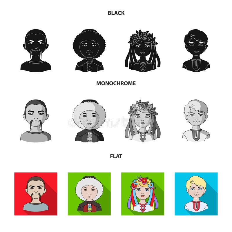 Chinese, ukrainian, russian, eskimo. Human race set collection icons in black, flat, monochrome style vector symbol. Stock illustration vector illustration