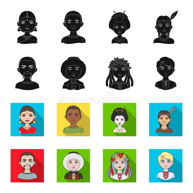 Chinese, ukrainian, russian, eskimo. Human race set collection icons in black,flet style vector symbol stock stock illustration