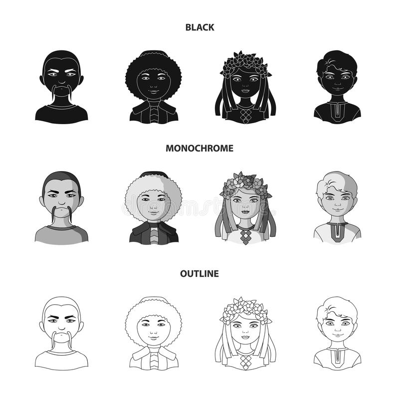 Chinese, ukrainian, russian, eskimo. Human race set collection icons in black,monochrome,outline style vector symbol. Stock illustration royalty free illustration