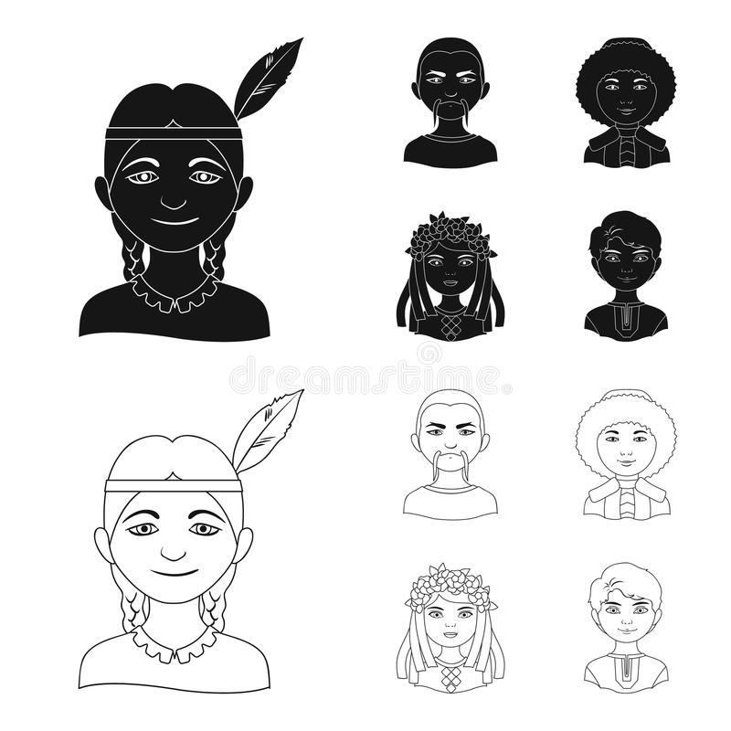 Chinese, ukrainian, russian, eskimo. Human race set collection icons in black,outline style vector symbol stock. Illustration vector illustration