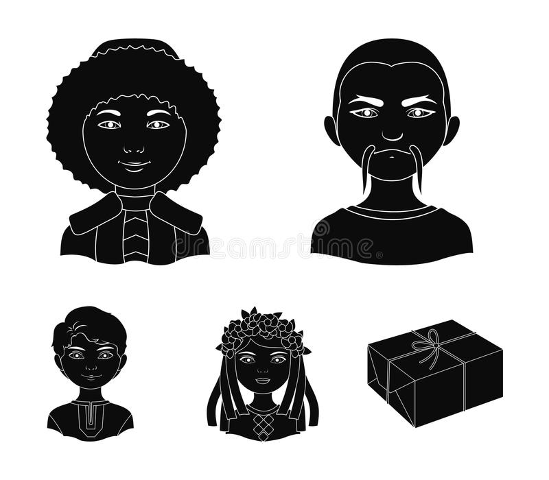 Chinese, ukrainian, russian, eskimo. Human race set collection icons in black style vector symbol stock illustration web. Chinese, ukrainian, russian, eskimo vector illustration
