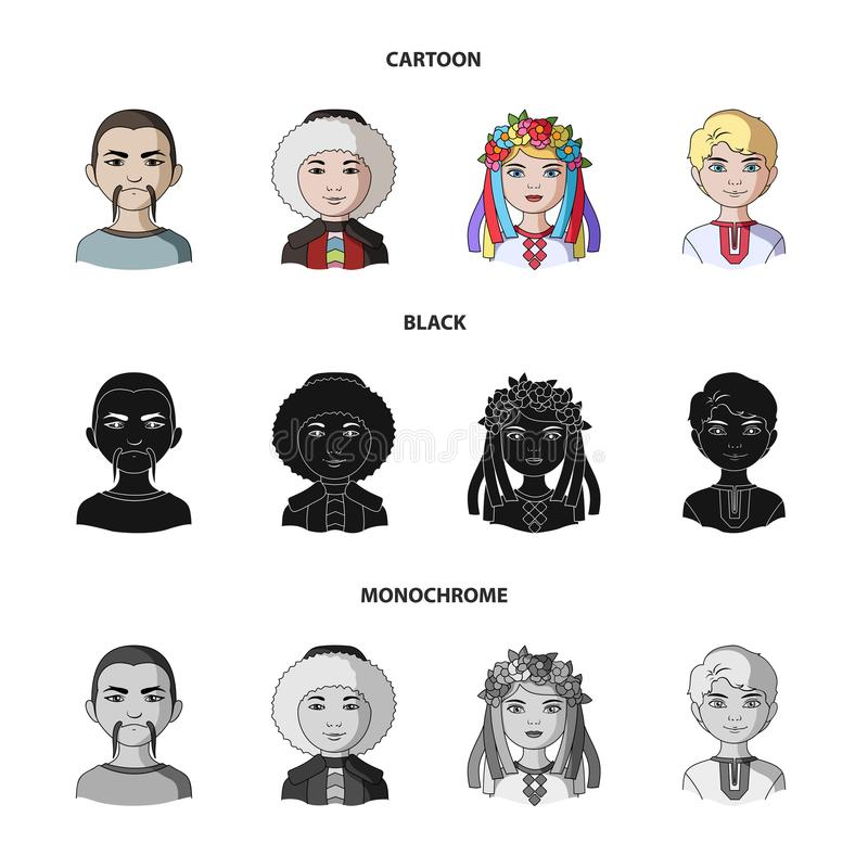 Chinese, ukrainian, russian, eskimo. Human race set collection icons in cartoon,black,monochrome style vector symbol vector illustration