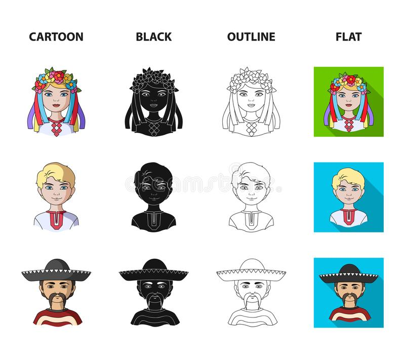 Chinese, ukrainian, russian, eskimo. Human race set collection icons in cartoon,black,outline,flat style vector symbol stock illustration