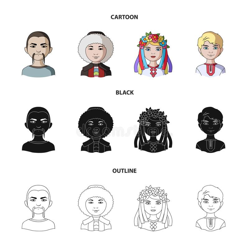 Chinese, ukrainian, russian, eskimo. Human race set collection icons in cartoon,black,outline style vector symbol stock vector illustration