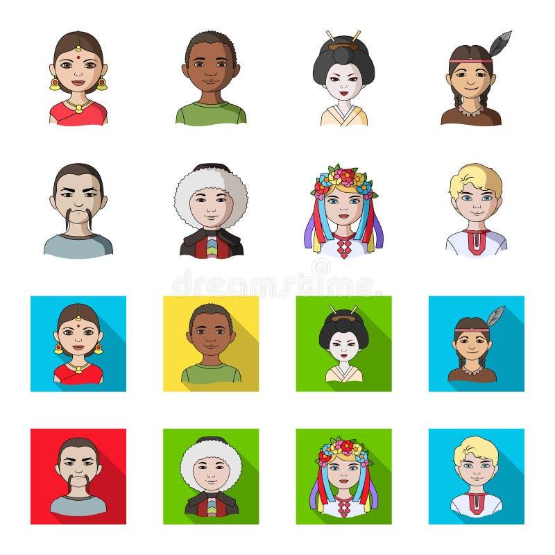 Chinese, ukrainian, russian, eskimo. Human race set collection icons in cartoon,flat style vector symbol stock. Illustration royalty free illustration