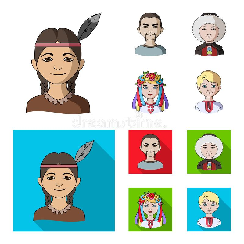 Chinese, ukrainian, russian, eskimo. Human race set collection icons in cartoon,flat style vector symbol stock royalty free illustration