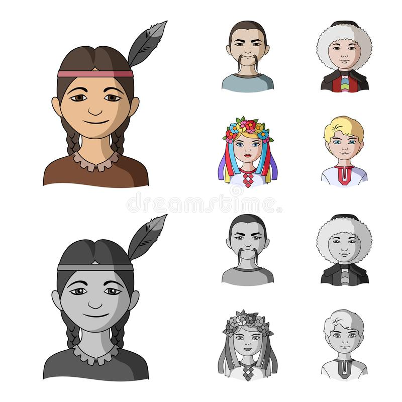 Chinese, ukrainian, russian, eskimo. Human race set collection icons in cartoon,monochrome style vector symbol stock vector illustration
