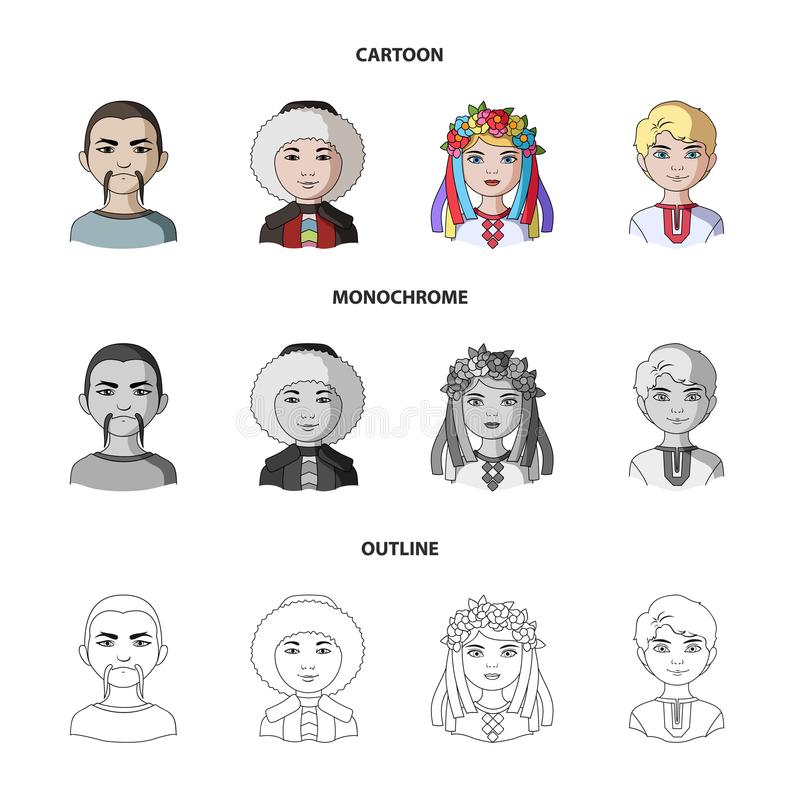 Chinese, ukrainian, russian, eskimo. Human race set collection icons in cartoon,outline,monochrome style vector symbol vector illustration