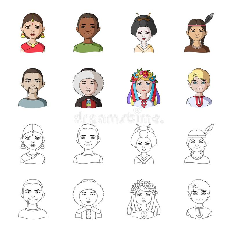Chinese, ukrainian, russian, eskimo. Human race set collection icons in cartoon,outline style vector symbol stock vector illustration