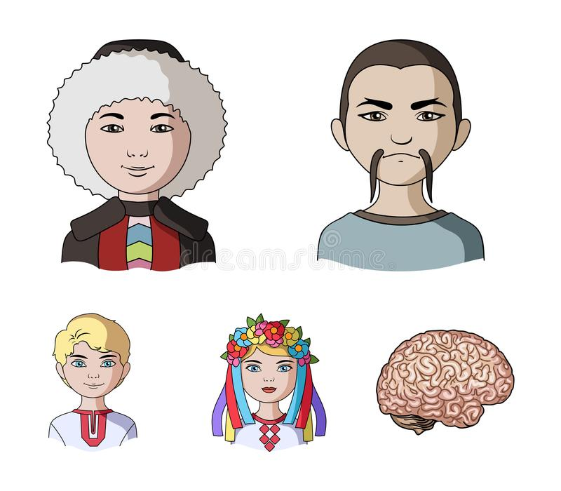 Chinese, ukrainian, russian, eskimo. Human race set collection icons in cartoon style vector symbol stock illustration.  stock illustration