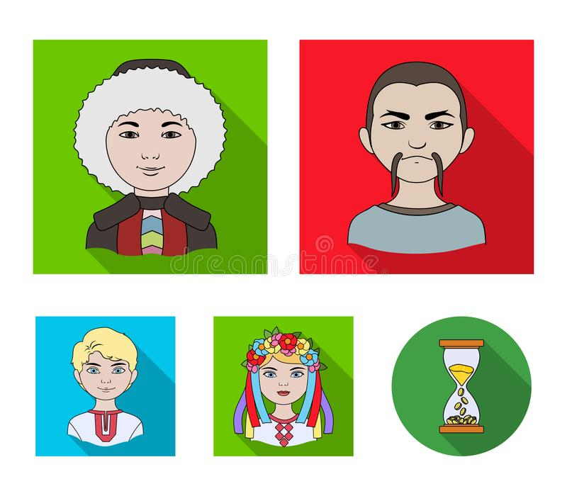 Chinese, ukrainian, russian, eskimo. Human race set collection icons in flat style vector symbol stock illustration web. Chinese, ukrainian, russian, eskimo stock illustration
