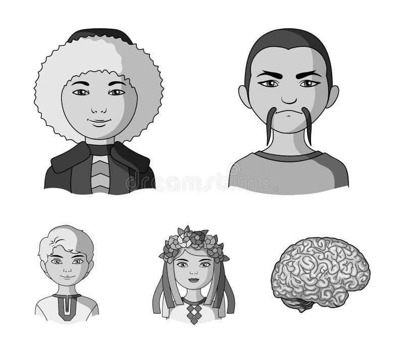 Chinese, ukrainian, russian, eskimo. Human race set collection icons in monochrome style vector symbol stock. Illustration royalty free illustration