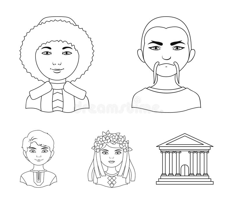 Chinese, ukrainian, russian, eskimo. Human race set collection icons in outline style vector symbol stock illustration.  royalty free illustration