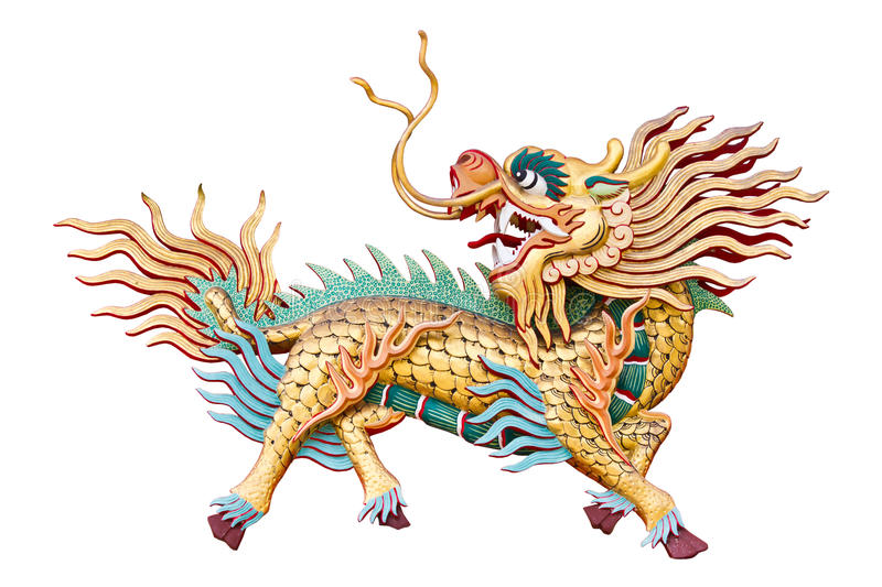 Chinese unicorn on white background. Chinese unicorn in Chinese temple at Chonburi Thailand stock photography