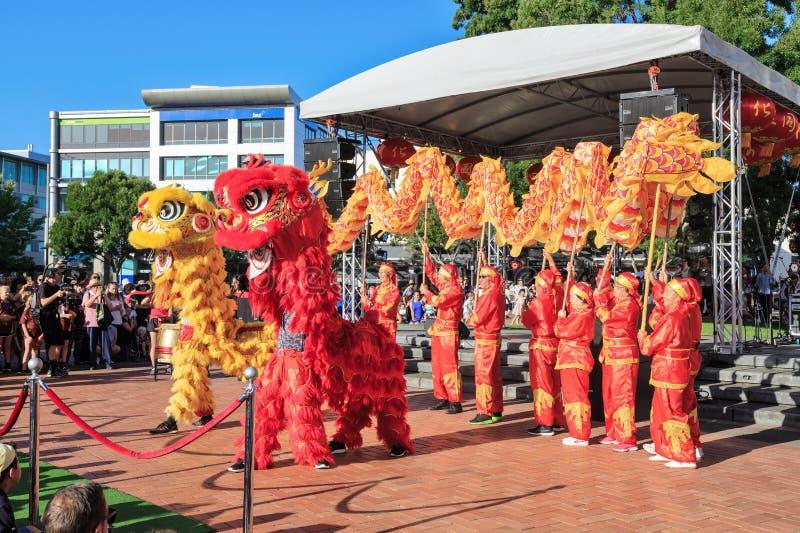 Chinese van de Nieuwjaardraak en leeuw dansers stock fotografie