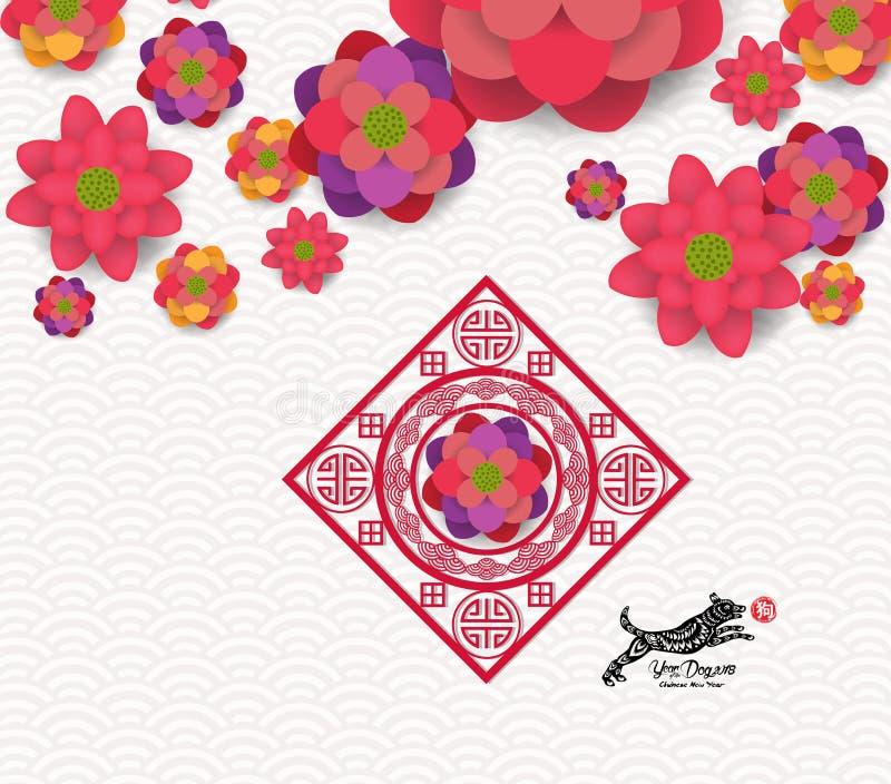 Chinese Vector het Ontwerphiëroglief van de Nieuwjaar 2018 Bloeiende Bloem: Hond stock illustratie