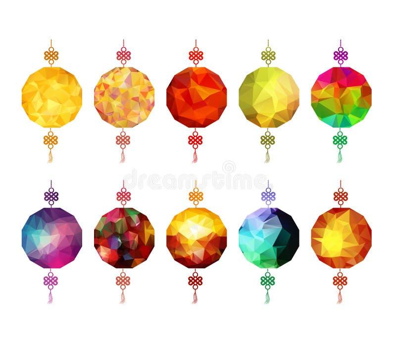 Chinese veelhoekige Lantaarninzameling Chinees nieuw jaar en medio de herfstfestival stock illustratie