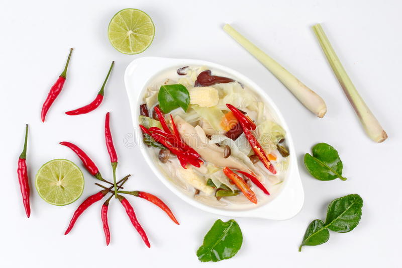 Chinese vegetable festival as spicy and sour galangal curry with mixed herb 'J food festival'. Spicy and sour galangal curry with mixed herb is food for stock images