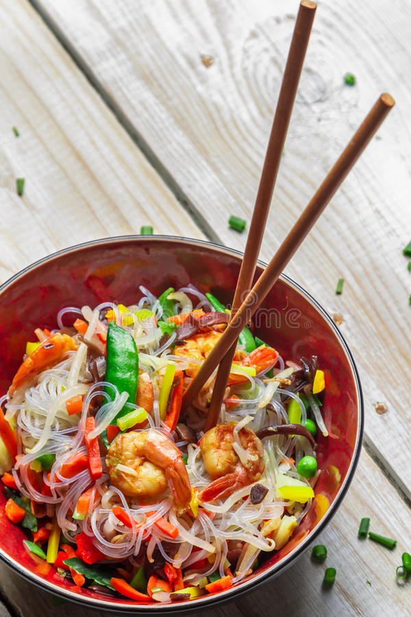 Chinese vegetables with pasta and shrimp royalty free stock images