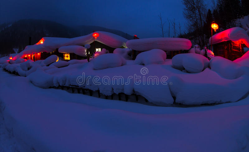 Chinese village covered by snow stock photography