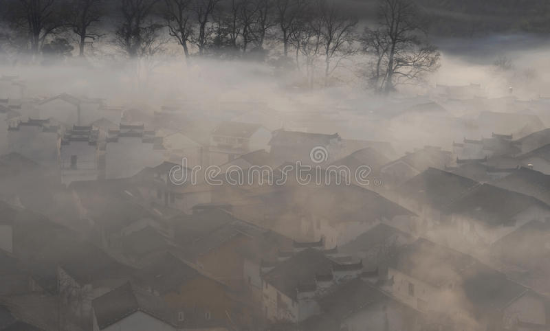 Download Chinese Village In Morning Fog Stock Images - Image: 10435004