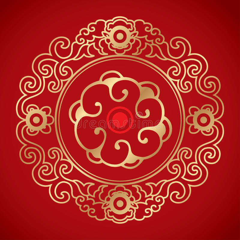 Chinese Vintage Elements on classic red background. Outside is golden chinese vintage pattern royalty free illustration
